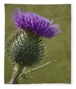 Spear Thistle With Texture Fleece Blanket