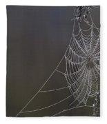 Spider Web Covered In Dew Drops Fleece Blanket