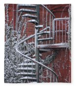 Spiral Staircase With Snow And Cooper's Hawk Fleece Blanket