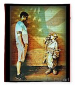 Spirit Of Freedom - Soldier And Son Fleece Blanket