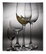 Splashing Wine In Wine Glasses Fleece Blanket