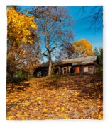 Splendor Of Autumn. Wooden House Fleece Blanket