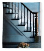 Spooked Cat By Stairs Fleece Blanket