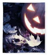 Spooky Jack-o-lantern On Fallen Leaves Fleece Blanket