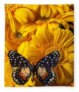 Spotted Butterfly On Yellow Mums Fleece Blanket