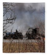Spring Burning Of The Blueberry Fields Fleece Blanket