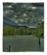 Spring Clouds At The Nicomen Slough Fleece Blanket