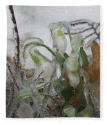 Spring Flowers In Ice Storm Fleece Blanket
