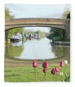 Spring On The Oxford Canal Fleece Blanket