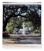 Spring Walk Through Forsyth Park Fleece Blanket