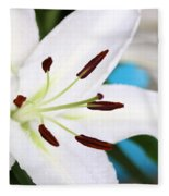Square Lily On Blue Fleece Blanket