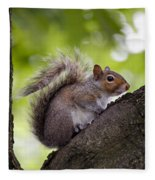 Squirrel Before Green Leaves Fleece Blanket