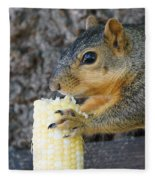 Squirrel Holding Corn Fleece Blanket