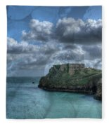 St Catherines Rock Tenby With A Shell Texture Fleece Blanket