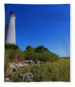 St Marks Lighthouse Along The Gulf Coastst Fleece Blanket