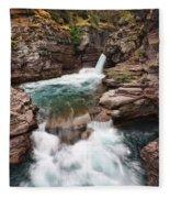 St. Mary Falls Glacier National Park Fleece Blanket
