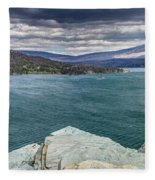 St. Mary Lake Under Stormy Skies Fleece Blanket