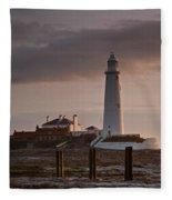 St Marys Lighthouse After Sunrise Fleece Blanket