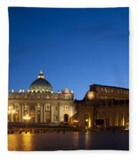 St. Peter's Basilica At Night Fleece Blanket