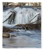 St Vrain River Waterfall Slow Flow Fleece Blanket