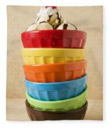 Stack Of Colored Bowls With Ice Cream On Top Fleece Blanket