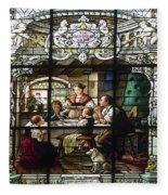 Stained Glass Family Giving Thanks Fleece Blanket