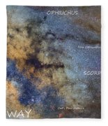 Star Map Version The Milky Way And Constellations Scorpius Sagittarius And The Star Antares Fleece Blanket