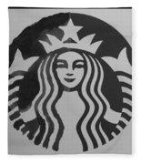 Starbuck The Mermaid In Black And White Fleece Blanket