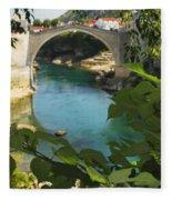 Stari Most Or Old Town Bridge Over The Fleece Blanket