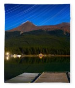 Starry Night Of Mountains And Lake Fleece Blanket