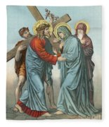 Station Iv Jesus Carrying The Cross Meets His Most Afflicted Mother Fleece Blanket