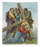 Station Vii Jesus Falls Under The Cross The Second Time Fleece Blanket