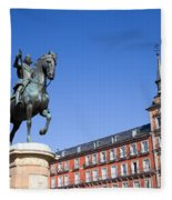 Statue Of King Philip IIi At Plaza Mayor Fleece Blanket