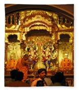 Statues Of Ram And Lakshman And Sita At The Iskcon Temple In Delhi Fleece Blanket