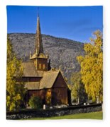 Stave Church In Lom Fleece Blanket