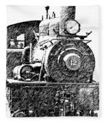 steam Engine pencil sketch Fleece Blanket