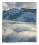 Steamboat Ski Area In Clouds Fleece Blanket