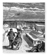 Steamships: Deck, 1870 Fleece Blanket