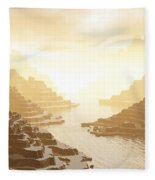 Misted Mountain River Passage Fleece Blanket