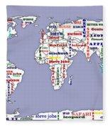 Steve Jobs Apple World Map Digital Art Fleece Blanket