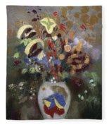 Still Life Of A Vase Of Flowers Fleece Blanket