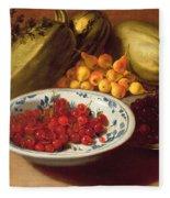 Still Life Of Cherries - Marrows And Pears Fleece Blanket