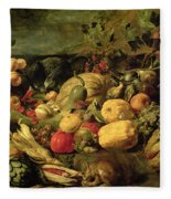 Still Life Of Fruits And Vegetables Fleece Blanket