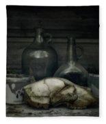 Still Life With Bear Skull Fleece Blanket