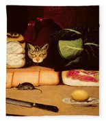 Still Life With Cat And Mouse Fleece Blanket