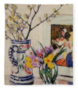 Still Life With Flowers In A Vase   Fleece Blanket