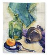 Still Life With Green Bottle Fleece Blanket