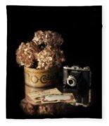 Still Life With Hydrangea And Camera Fleece Blanket