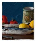 Still Life With Mackerels Lemons And Tomatoes Fleece Blanket