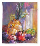 Still Life With Pineapple Fleece Blanket